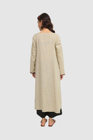 Generation - Beige African Kutch A-Line Kurta - 1 PC