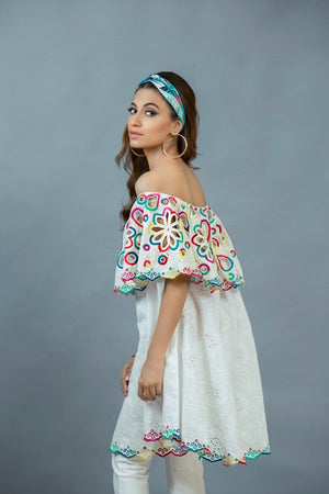 Maheen Karim - White Chikan Off Shoulder Top