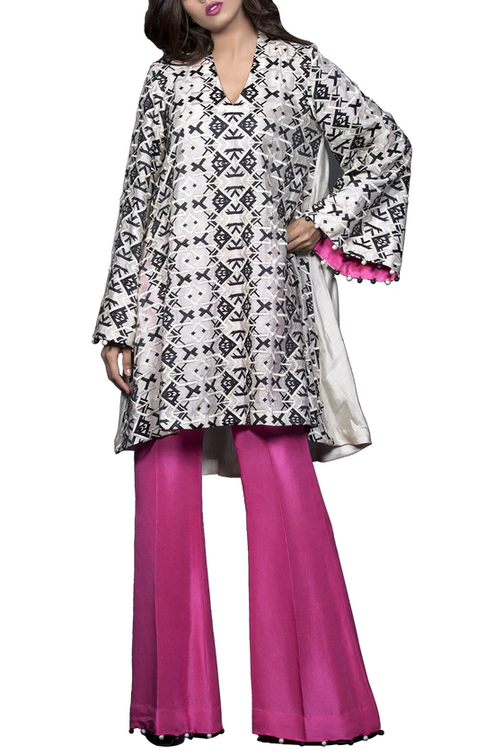 Mahgul - ARAH Embroidered Cotton Net Shirt With Raw Silk Pants