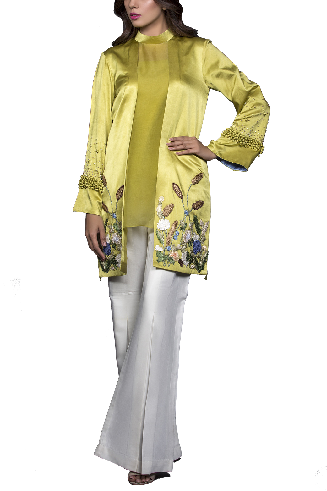 Mahgul - ARAH Entirely Hand Worked Satin Top With Raw Silk Pants