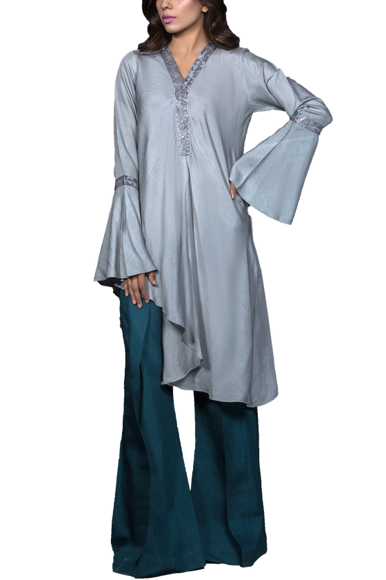 Mahgul - ARAH Embroidered Cotton Grip Shirt With Raw Silk Pants