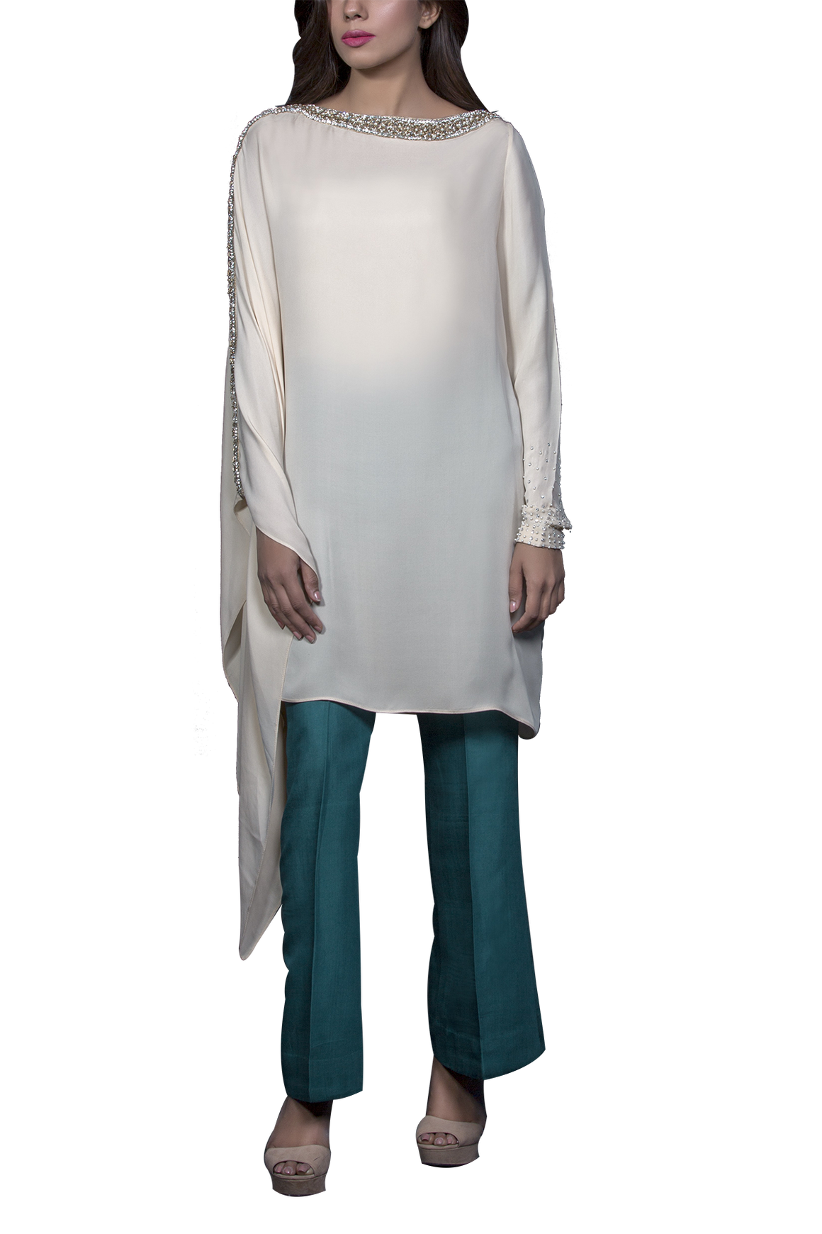 Mahgul - ARAH Hand embellished Pure Georgette Shirt With Raw Silk Pants