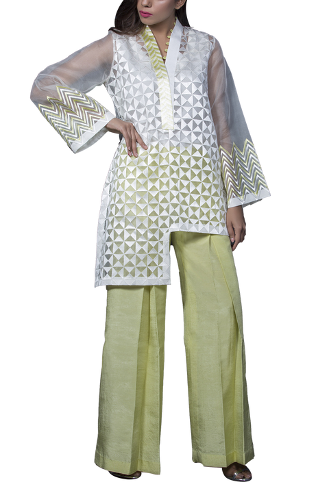 Mahgul - ARAH Fully Embroidered Organza Top With Raw Silk Pants