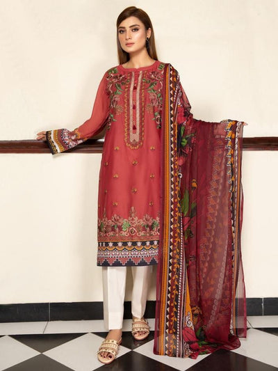 Limelight - Red Embroidered Lawn Suit - 2 PC - P3102