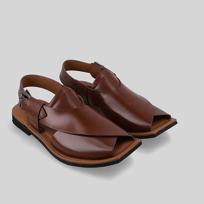 Novado - Cedar Ghazab Khan Leather Peshawari Chappal For Men