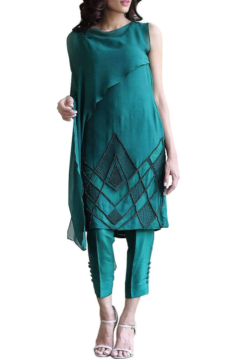 Natasha Kamal - Crystal Chiffon Tunic With Raw Silk Pants & Dupatta