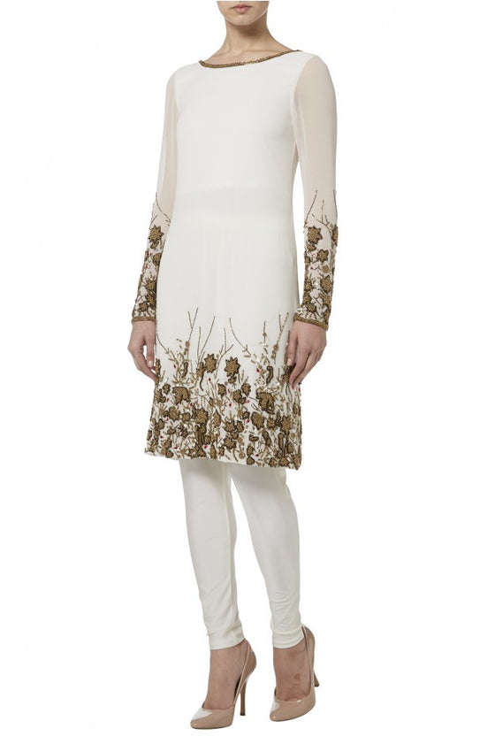 Raishma -  Ivory With Bronze Embroidery Churidar Georgette Suit