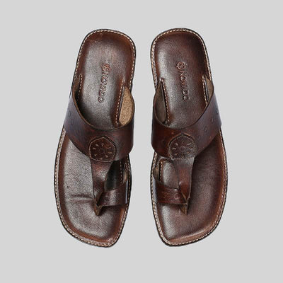 Novado - Dark Brown  Kolhapuri Leather Slipper For Men