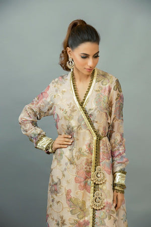 Maheen Karim - Organza Angharkha With Silk Trousers