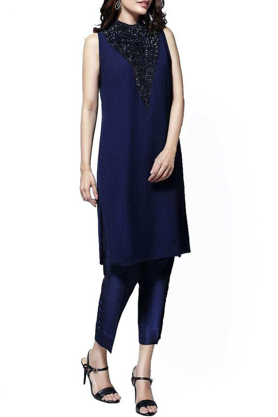 Natasha Kamal - Elia Chiffon & Georgette Tunic With Raw Silk Pants & Dupatta