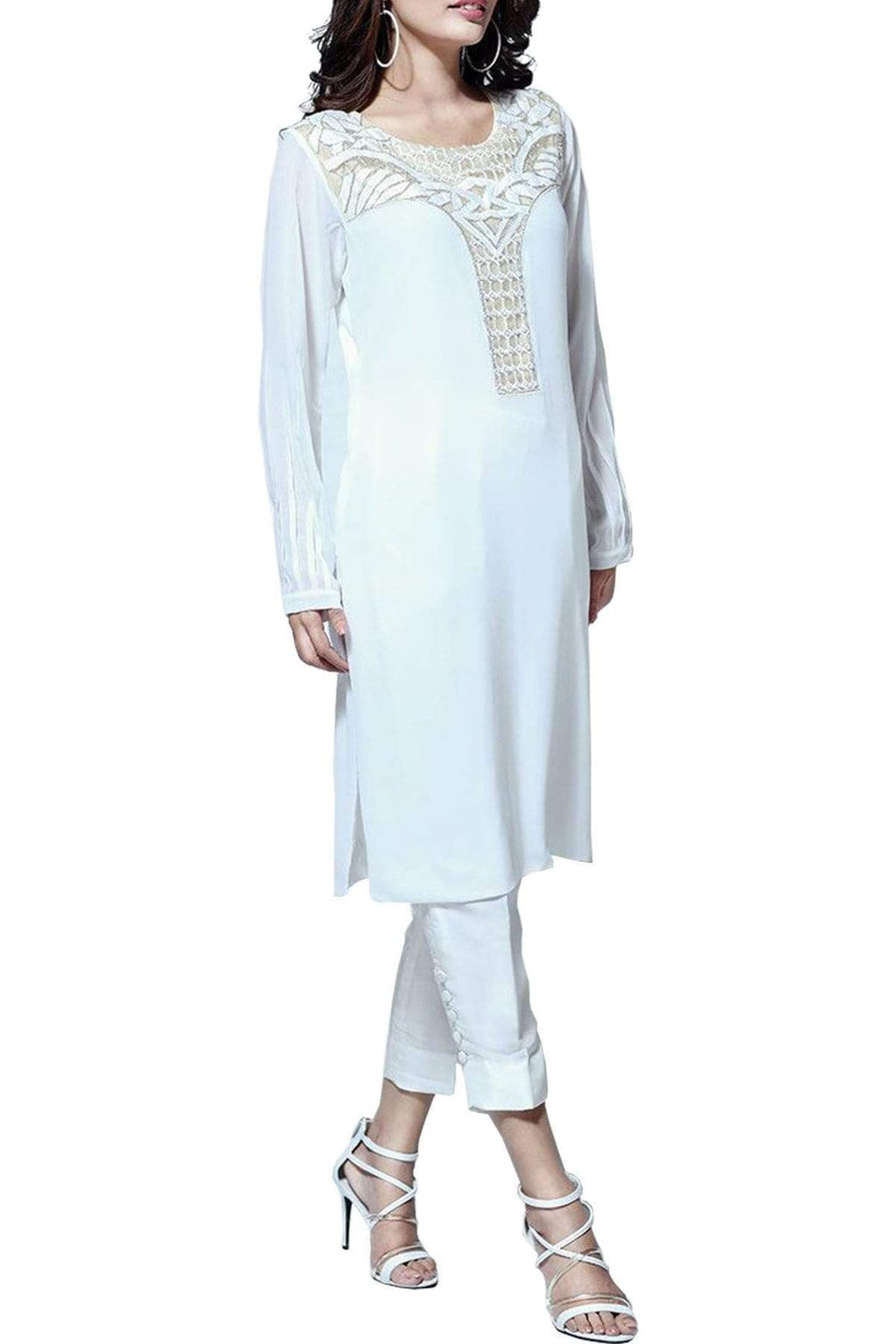 Natasha Kamal - Eris Silk & Georgette Tunic With Raw Silk Pants & Dupatta