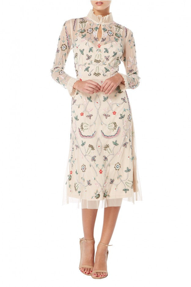 Raishma - Floral & Frill Midi Georgette Dress