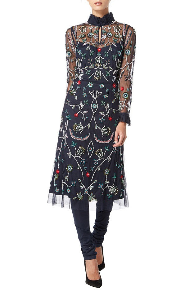 Raishma - Navy Floral & Frill Midi Georgette Dress