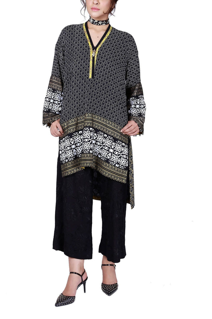 FnkAsia - Black Hand Block Print Cotton Shirt with Pants