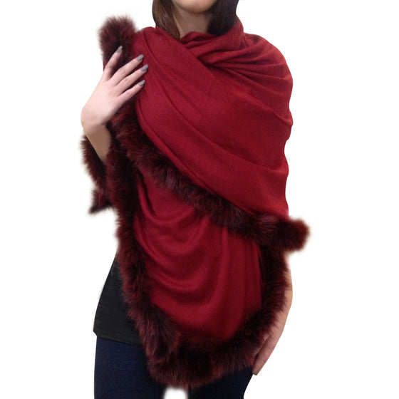 Amishi - Maroon Luxurious Cashmere & Fur Trimmed Scarf
