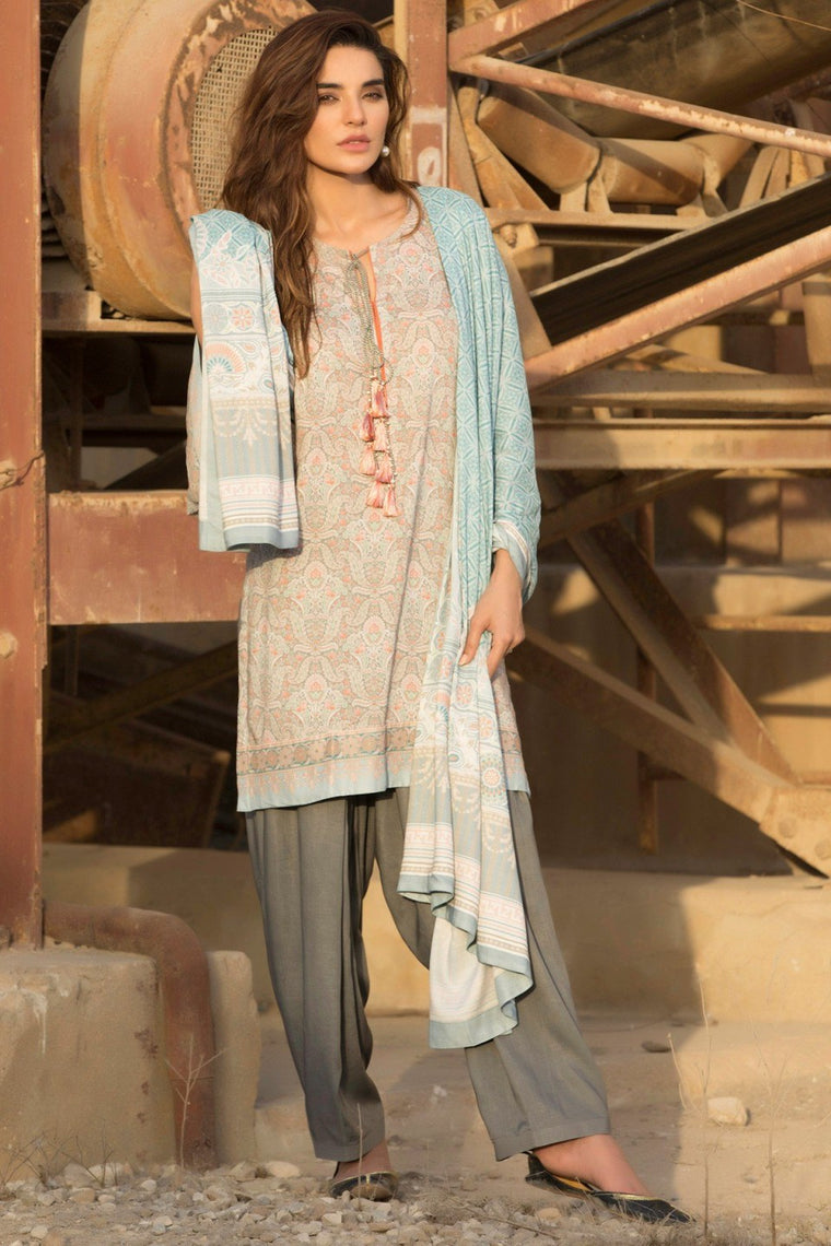 Alkaram - Blue 3 Piece Printed Linen Suit