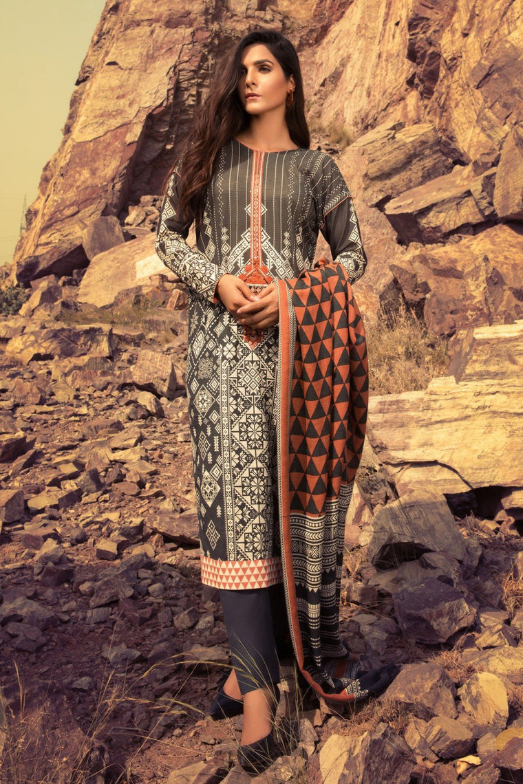 Alkaram - Charcoal 3 Piece Embroidered Khaddar Suit