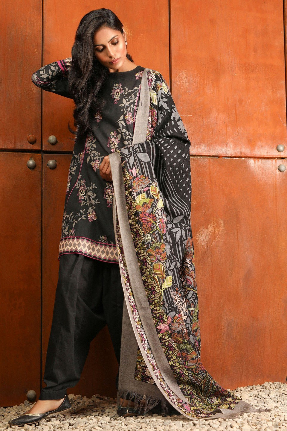 Alkaram - Black 3 Piece Printed Khaddar Suit