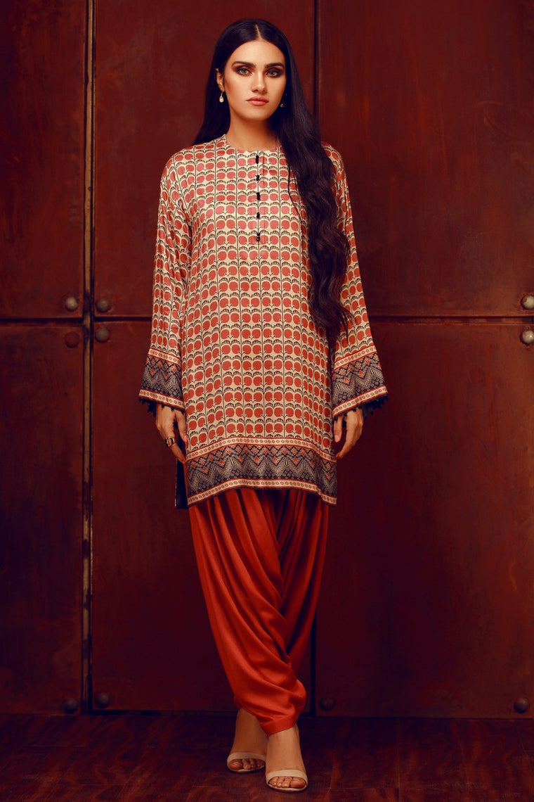 Alkaram - Red 1 Piece Printed Linen Shirt