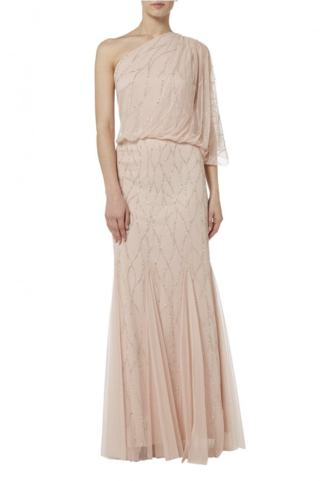 Raishma - Blush One Shoulder Gown