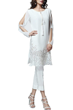 Natasha Kamal - Iris Silk & Georgette Tunic With Raw Silk Pants & Dupatta