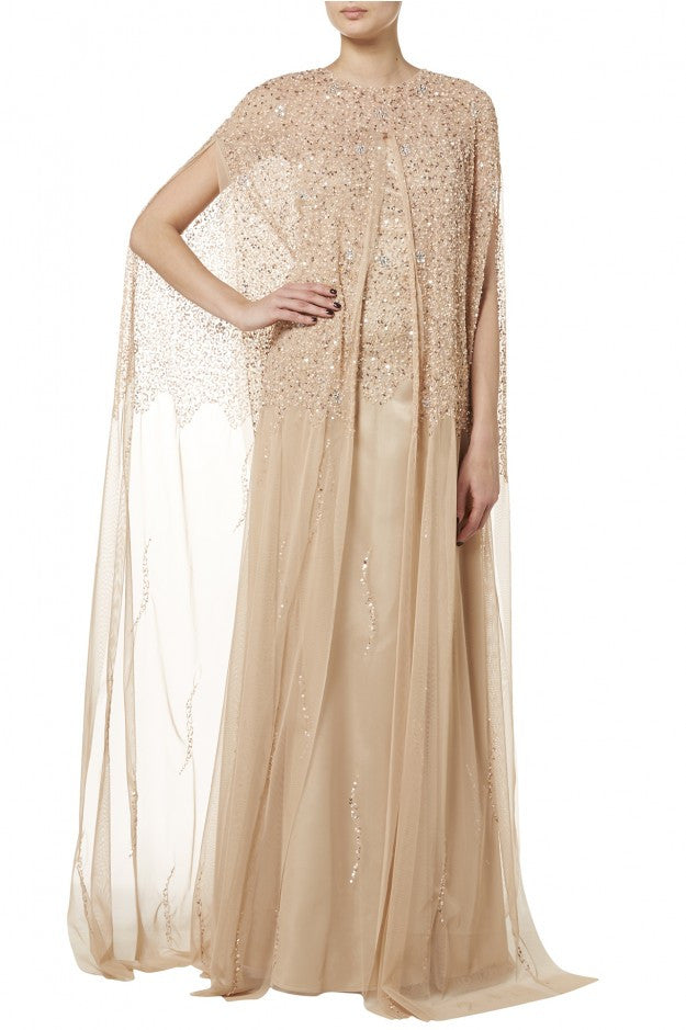 Raishma -  Blush Gold Net Cape And Gown