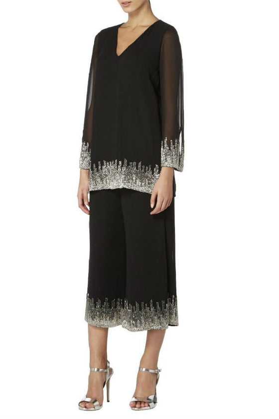 Raishma - Black Georgette Culottes With Silver Embroidery