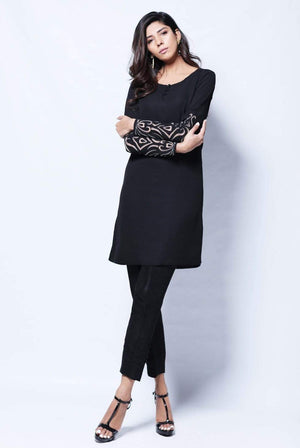 Natasha Kamal - Malia Black Tunic With Handcrafted Applique Sleeves & Raw Silk Trouser