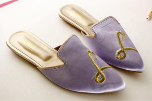 Soma - Lilac Monogram Bachless Pointed Toe Loafers
