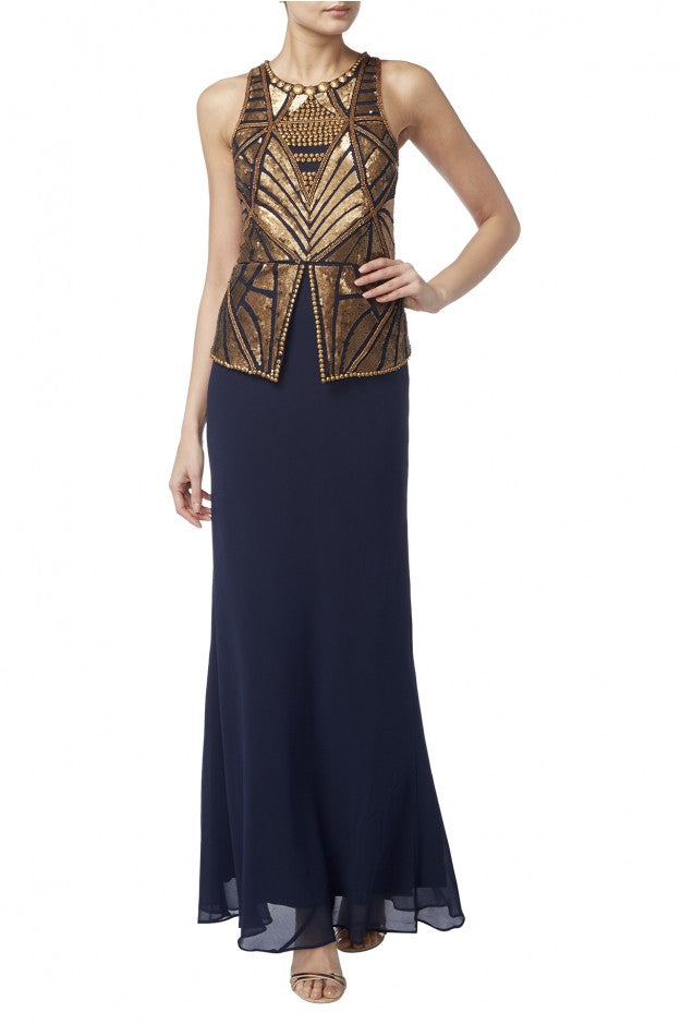 Raishma - Navy Peplum Gown