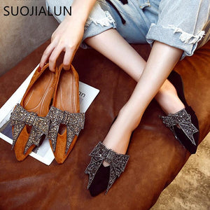 Women Crystal Bow Ballet Shoes