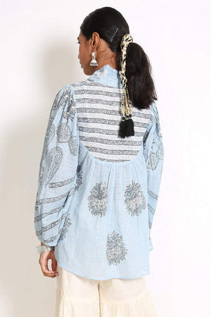 Generation - Sky Blue Indie Romance Draped Tunic - 1 PC