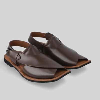 Novado - Cofee Brown  Ghazab Khan Leather Peshawari Chappal For Men