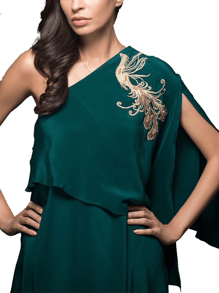 Tena Durrani - Green Tori Two Piece Crepe Suit