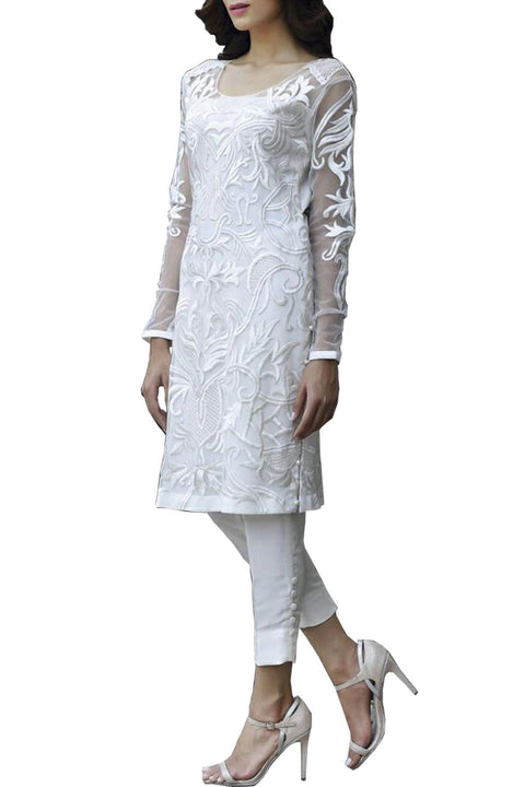 Natasha Kamal - White Valenza Silk Shirt With Raw Silk Pants & Dupatta