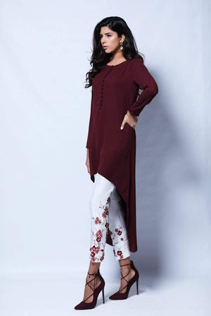 Natasha Kamal - Zinnia Solid Tunic Featuring U-Shaped Hemline With Raw Silk Trouser
