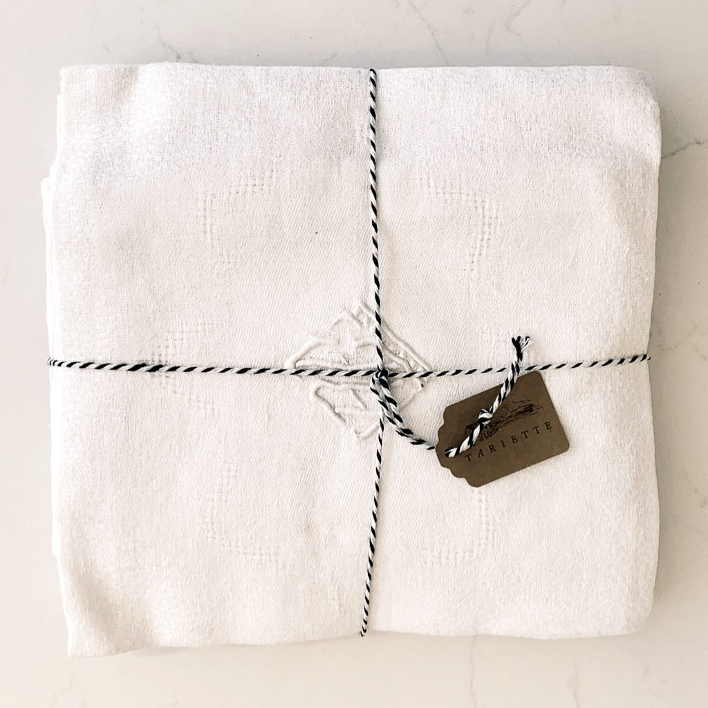 Set of 6 French linen napkins with monogram