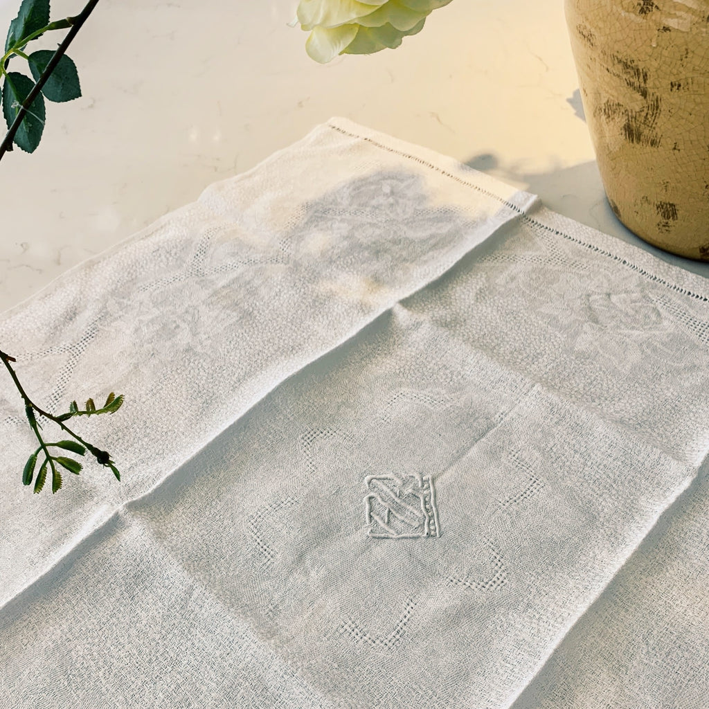 French linen napkin, damask with monogram