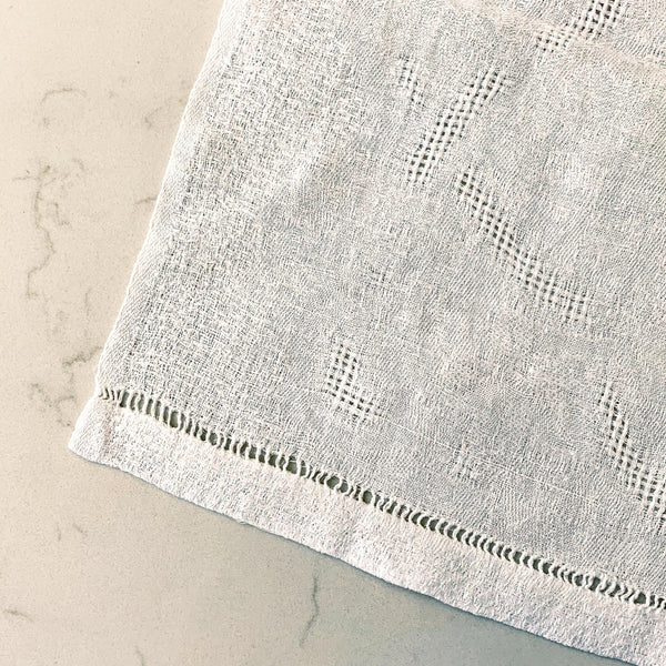 Close-up on French Linen napkin with monogram