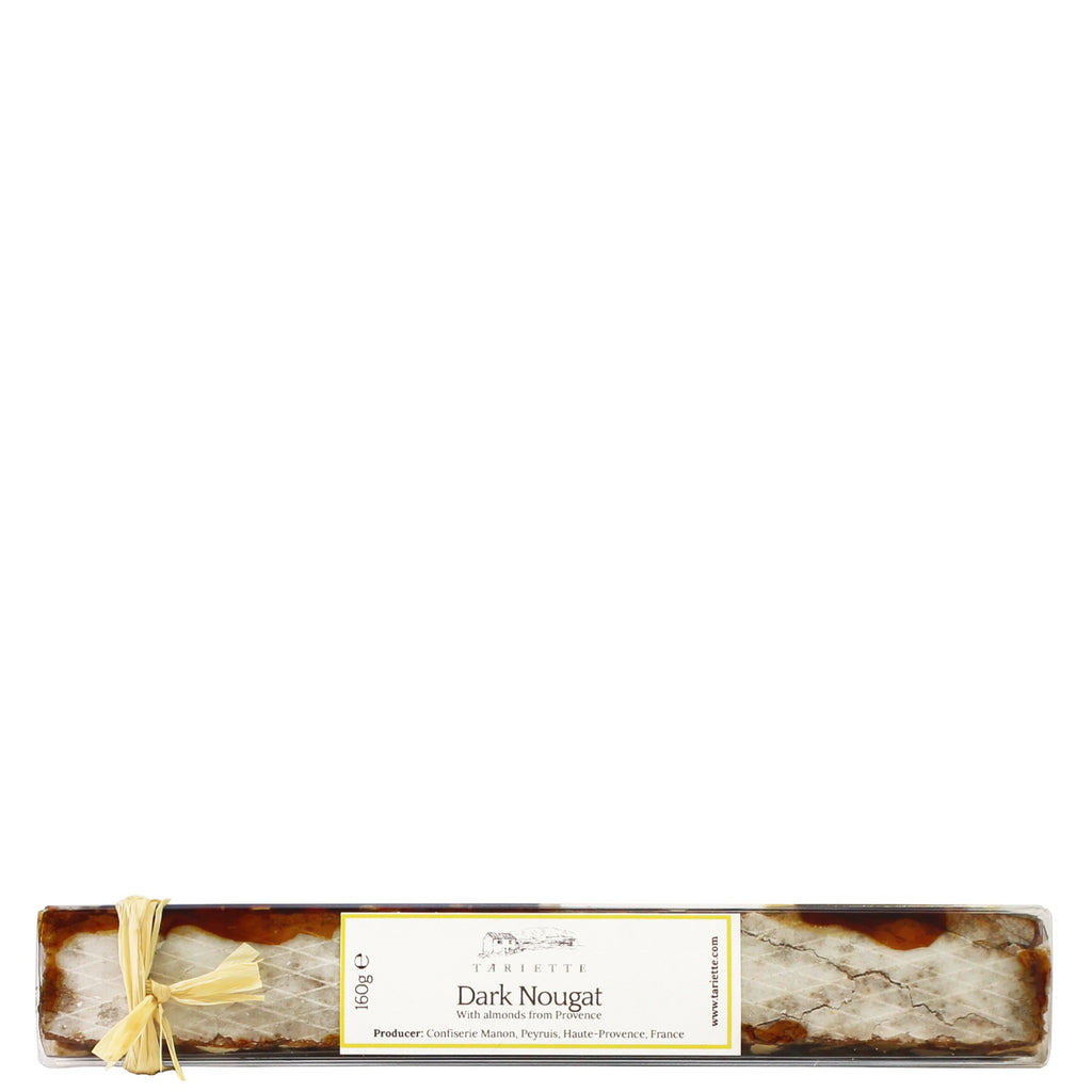 Provence's traditional dark nougat is a rich confectionery full of crunchy grilled almonds blended with lavender honey.