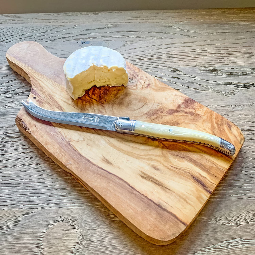 Olive wood cheese board with Laguiole knife