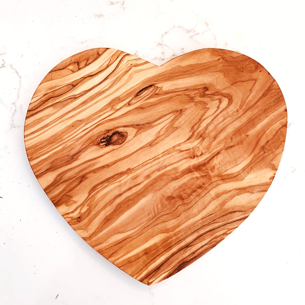 Heart shaped olive wood cheese board