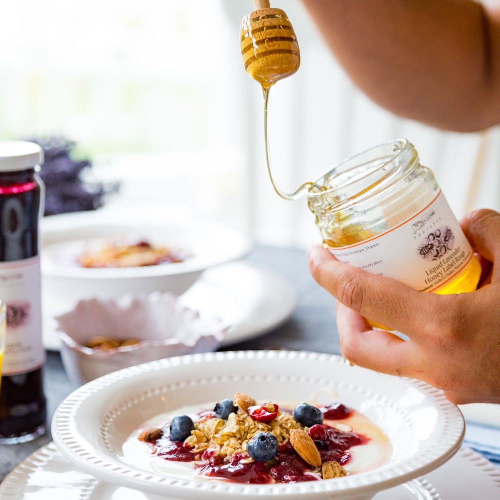 Drizzle of lavender honey on granola
