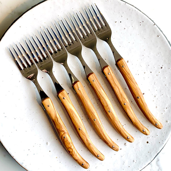 "Laguiole™ forks ""Bec fin"" olive wood - set of 6"