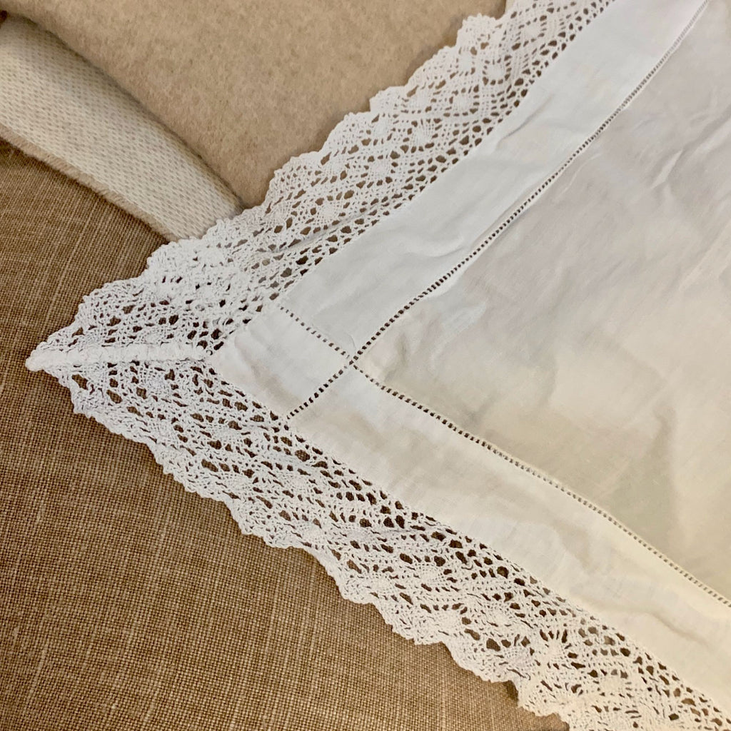 Antique pillow linen with embroidery and padding (large)
