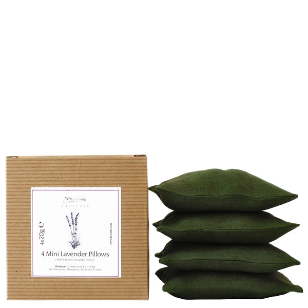 Set of 4 mini lavender pillows in dark green colour