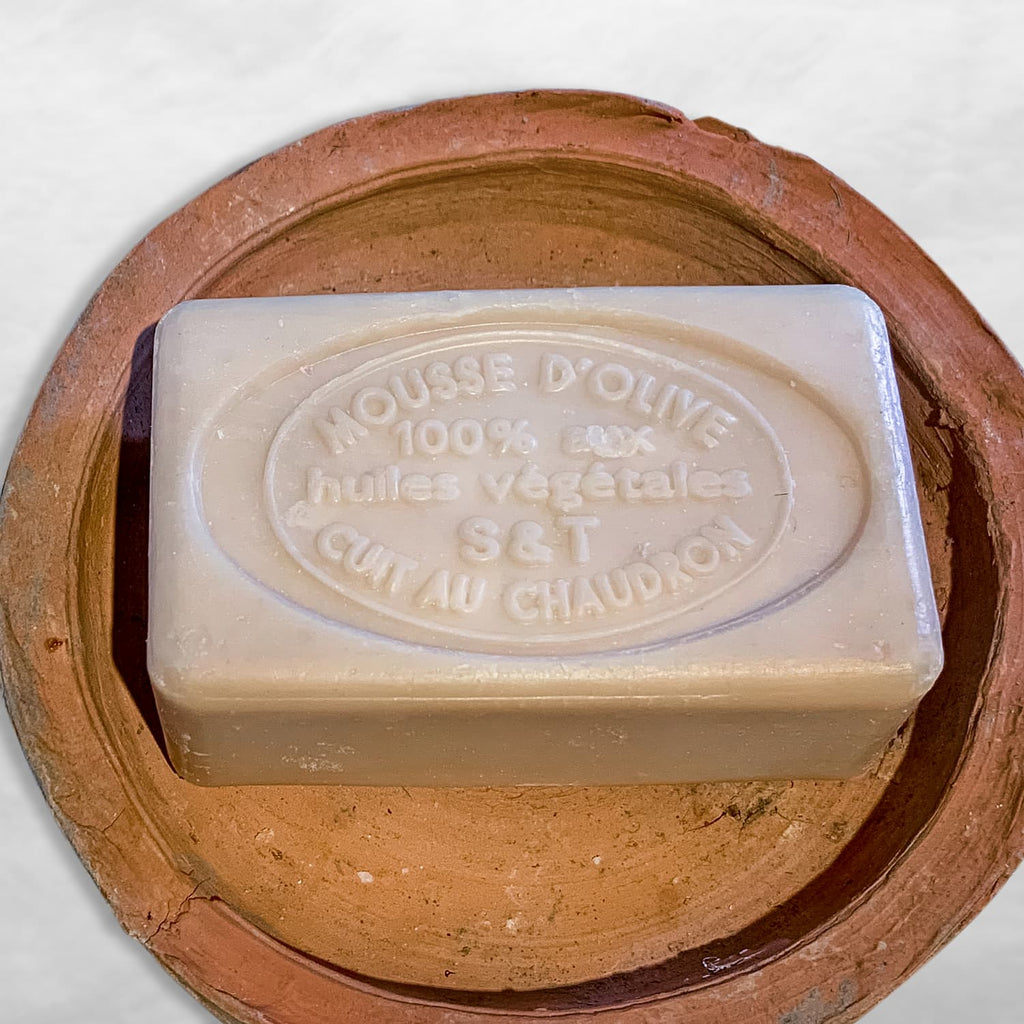 provence soap with olive oil in terracotta dish