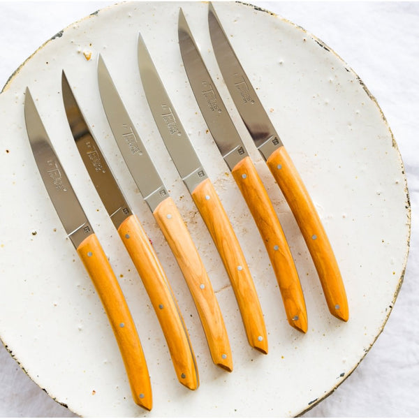 Set of Thiers knives with olive wood handles