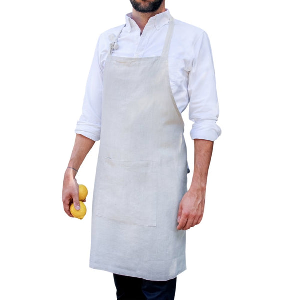 Linen apron in Naturel colour