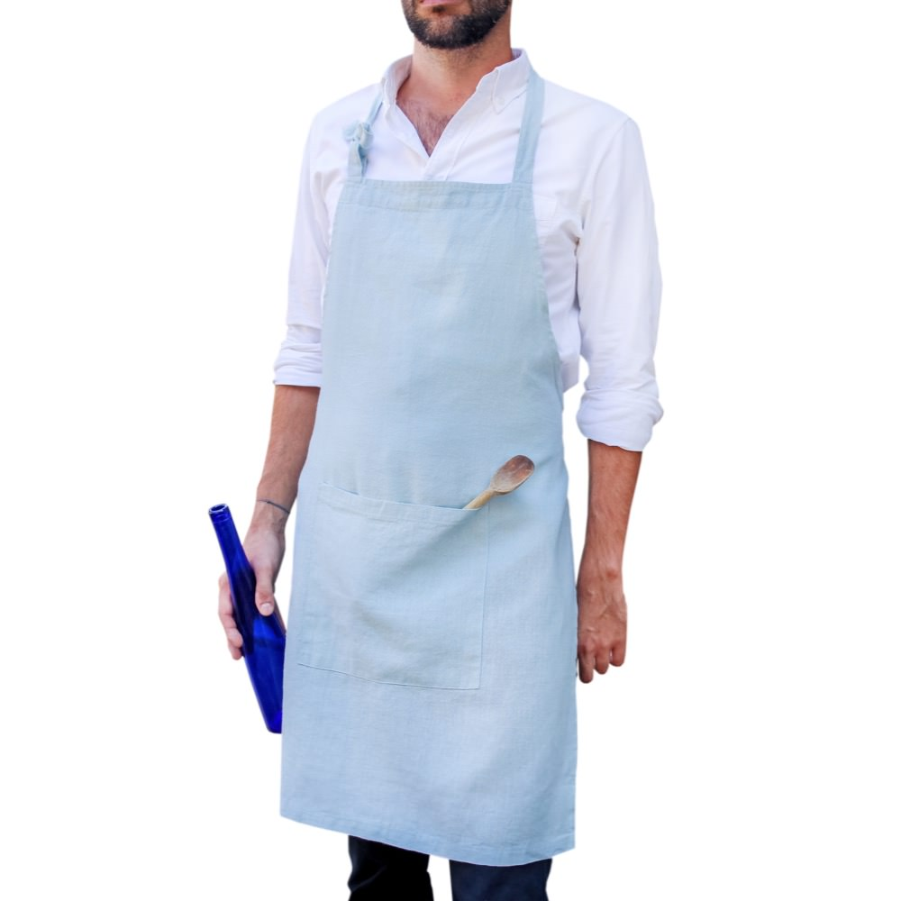 Linen apron in Ice colour
